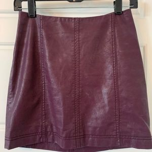 Free People Purple Faux-Leather Mini Skirt Size 0
